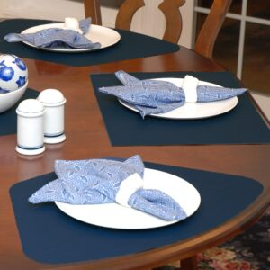 Sweet Pea Linens - Dark Blue Wipe Clean Wedge-Shaped Placemats - Set of Two (SKU#: RS2-1006-F21) - Table Setting