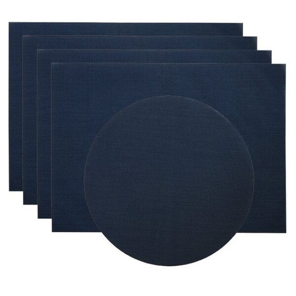 Sweet Pea Linens - Dark Blue Wipe Clean Rectangle Placemats - Set of Four plus Center Round-Charger (SKU#: RS5-1002-F21) - Product Image