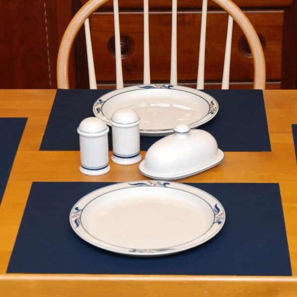 Sweet Pea Linens - Dark Blue Wipe Clean Rectangle Placemats - Set of Four plus Center Round-Charger (SKU#: RS5-1002-F21) - Table Setting