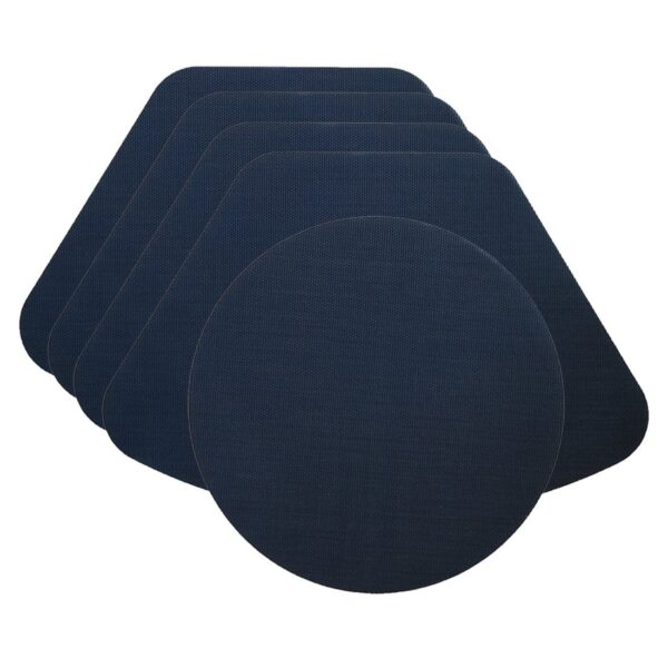 Sweet Pea Linens - Dark Blue Wipe Clean Wedge-Shaped Placemats - Set of Four plus Center Round-Charger (SKU#: RS5-1006-F21) - Product Image