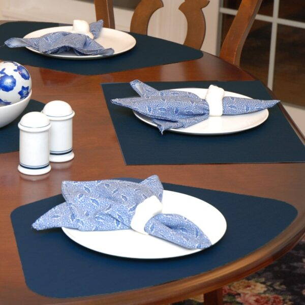 Sweet Pea Linens - Dark Blue Wipe Clean Wedge-Shaped Placemats - Set of Four plus Center Round-Charger (SKU#: RS5-1006-F21) - Table Setting