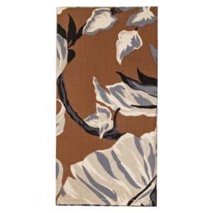 Sweet Pea Linens - Brown, Black & Cream Tropical Leaf Rolled Hem Cloth Napkin (SKU#: R-1010-F23) - Product Image