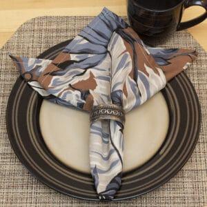 Sweet Pea Linens - Brown, Black & Cream Tropical Leaf Rolled Hem Cloth Napkin (SKU#: R-1010-F23) - Table Setting