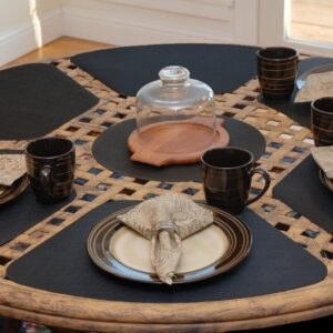 Sweet Pea Linens - Black Wipe Clean Wedge-Shaped Placemats - Set of Two (SKU#: RS2-1006-F23) - Table Setting