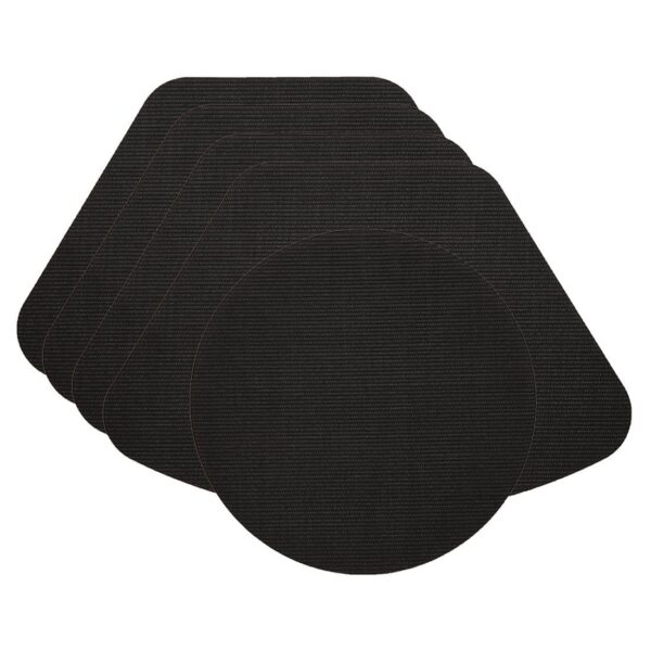 Sweet Pea Linens - Black Wipe Clean Wedge-Shaped Placemats - Set of Four plus Center Round-Charger (SKU#: RS5-1006-F23) - Product Image