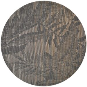 Sweet Pea Linens - Mocha Brown Leaf Wipe Clean Charger-Center Round Placemat (SKU#: R-1015-F27) - Product Image