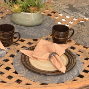 Sweet Pea Linens - Mocha Brown Leaf Wipe Clean Charger-Center Round Placemat (SKU#: R-1015-F27) - Table Setting