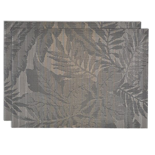 Sweet Pea Linens - Mocha Brown Leaf Wipe Clean Rectangle Placemats - Set of Two (SKU#: RS2-1002-F27) - Product Image