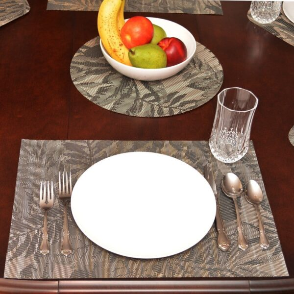 Sweet Pea Linens - Mocha Brown Leaf Wipe Clean Rectangle Placemats - Set of Two (SKU#: RS2-1002-F27) - Table Setting