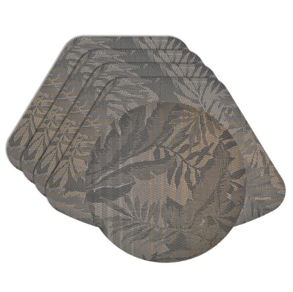 Sweet Pea Linens - Mocha Brown Leaf Wipe Clean Wedge-Shaped Placemats - Set of Four plus Center Round-Charger (SKU#: RS5-1006-F27) - Product Image