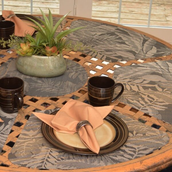 Sweet Pea Linens - Mocha Brown Leaf Wipe Clean Wedge-Shaped Placemats - Set of Four plus Center Round-Charger (SKU#: RS5-1006-F27) - Table Setting