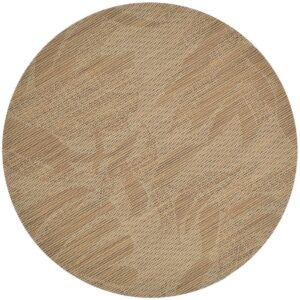 Sweet Pea Linens - Tan Tonal Leaf Wipe Clean Charger-Center Round Placemat (SKU#: R-1015-F28) - Product Image
