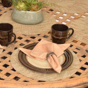Sweet Pea Linens - Tan Tonal Leaf Wipe Clean Charger-Center Round Placemat (SKU#: R-1015-F28) - Table Setting