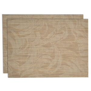 Sweet Pea Linens - Tan Tonal Leaf Wipe Clean Rectangle Placemats - Set of Two (SKU#: RS2-1002-F28) - Product Image