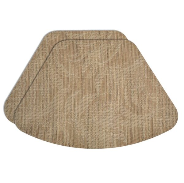 Sweet Pea Linens - Tan Tonal Leaf Wipe Clean Wedge-Shaped Placemats - Set of Two (SKU#: RS2-1006-F28) - Product Image