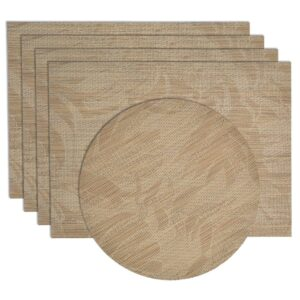 Sweet Pea Linens - Tan Tonal Leaf Wipe Clean Rectangle Placemats - Set of Four plus Center Round-Charger (SKU#: RS5-1002-F28) - Product Image