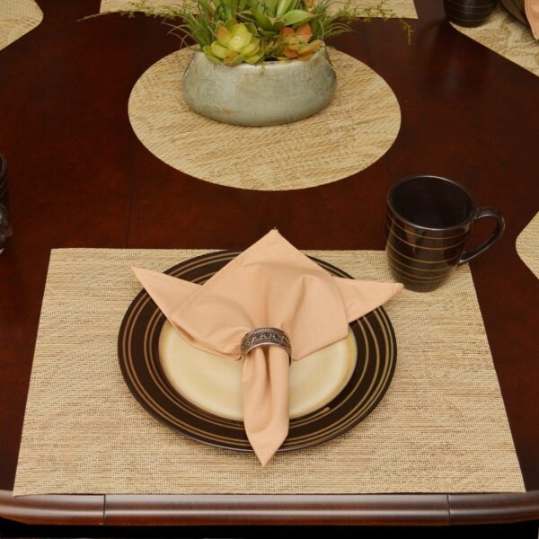 Sweet Pea Linens - Tan Tonal Leaf Wipe Clean Rectangle Placemats - Set of Four plus Center Round-Charger (SKU#: RS5-1002-F28) - Table Setting