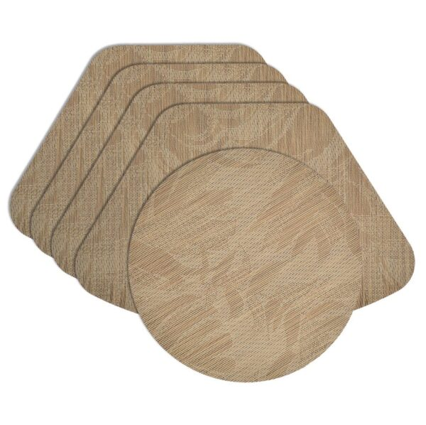 Sweet Pea Linens - Tan Tonal Leaf Wipe Clean Wedge-Shaped Placemats - Set of Four plus Center Round-Charger (SKU#: RS5-1006-F28) - Product Image