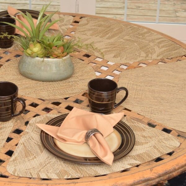 Sweet Pea Linens - Tan Tonal Leaf Wipe Clean Wedge-Shaped Placemats - Set of Four plus Center Round-Charger (SKU#: RS5-1006-F28) - Table Setting