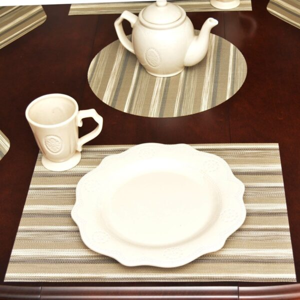 Sweet Pea Linens - Verde Striped Wipe Clean Rectangle Placemats - Set of Two (SKU#: RS2-1002-F29) - Table Setting