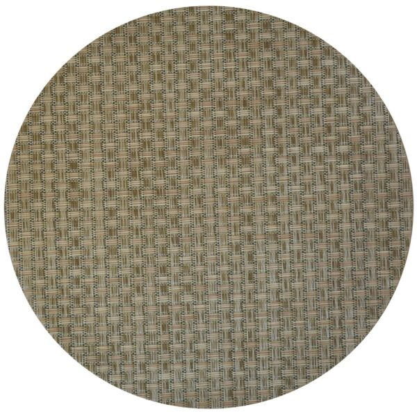 Sweet Pea Linens - Sage Green & Tan Wipe Clean Charger-Center Round Placemat (SKU#: R-1015-F30) - Product Image
