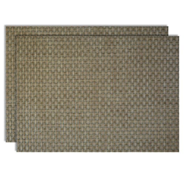 Sweet Pea Linens - Sage Green & Tan Wipe Clean Rectangle Placemats - Set of Two (SKU#: RS2-1002-F30) - Product Image