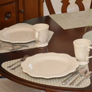 Sage Green & Tan Wipe-Clean Table Linen Collection