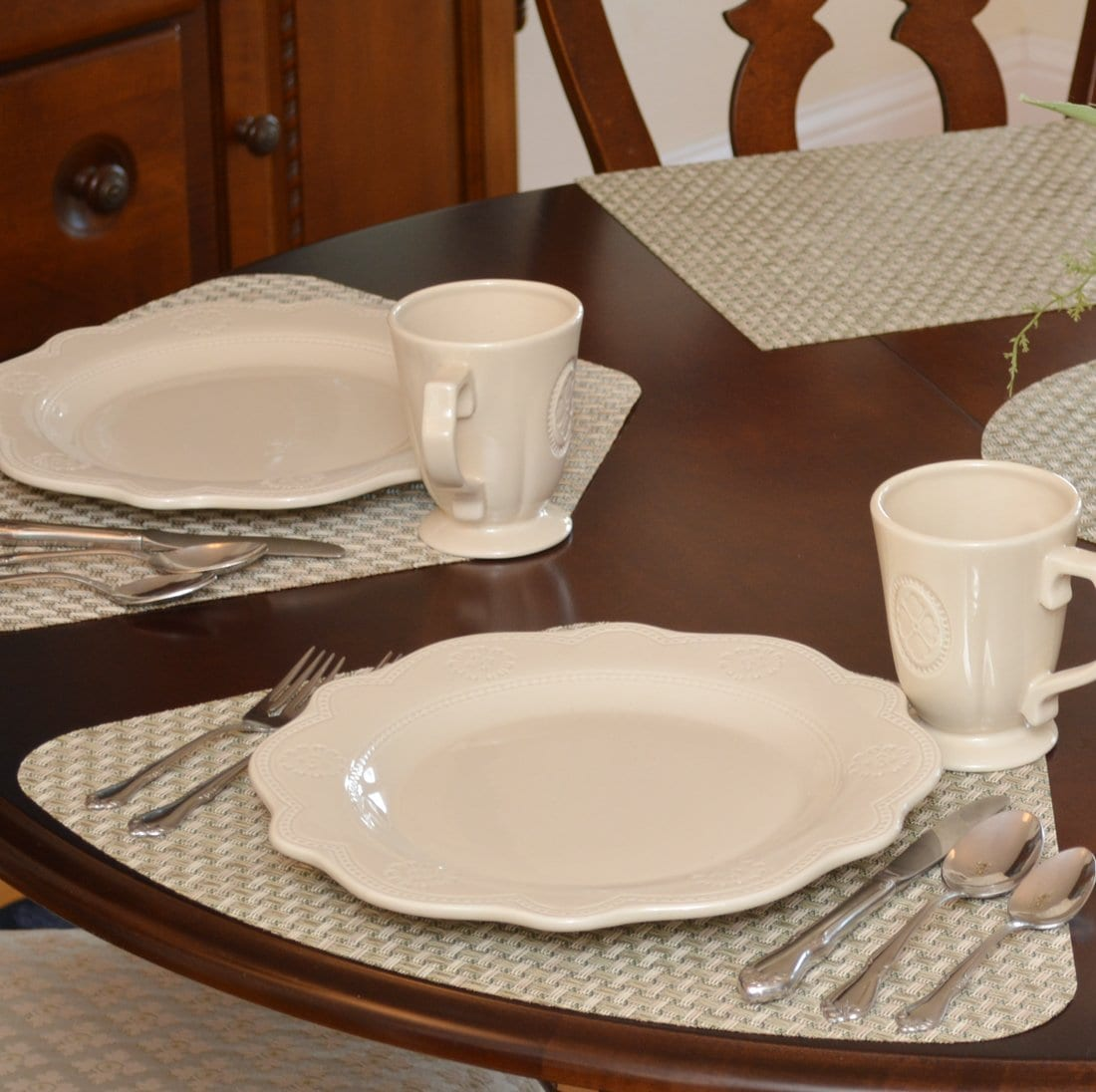 Sweet Pea Linens - Sage Green & Tan Wipe Clean Rectangle Placemats - Set of Two (SKU#: RS2-1002-F30) - Table Setting