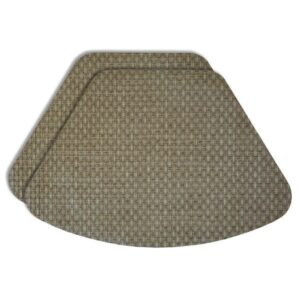 Sweet Pea Linens - Sage Green & Tan Wipe Clean Wedge-Shaped Placemats - Set of Two (SKU#: RS2-1006-F30) - Product Image