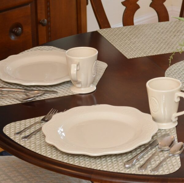 Sweet Pea Linens - Sage Green & Tan Wipe Clean Wedge-Shaped Placemats - Set of Two (SKU#: RS2-1006-F30) - Table Setting