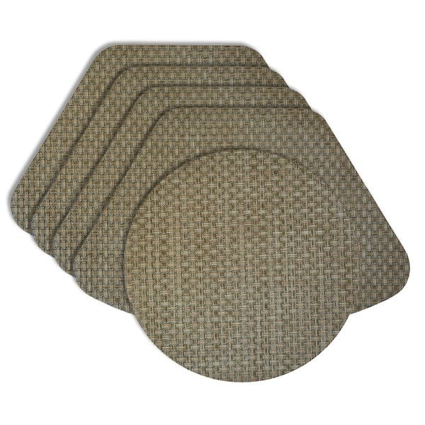 Sweet Pea Linens - Sage Green & Tan Wipe Clean Wedge-Shaped Placemats - Set of Four plus Center Round-Charger (SKU#: RS5-1006-F30) - Product Image