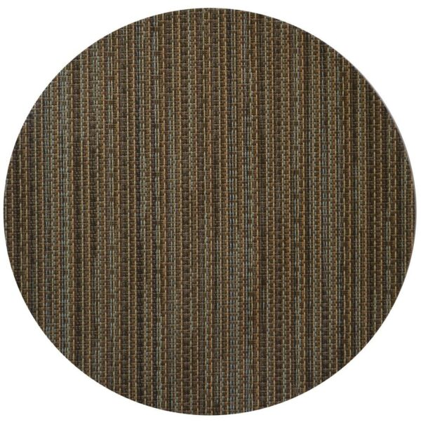 Sweet Pea Linens - Dark Brown & Blue Wipe Clean Charger-Center Round Placemat (SKU#: R-1015-F31) - Product Image