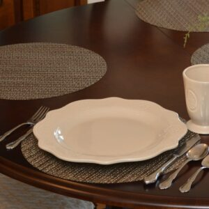 Sweet Pea Linens - Dark Brown & Blue Wipe Clean Charger-Center Round Placemat (SKU#: R-1015-F31) - Table Setting