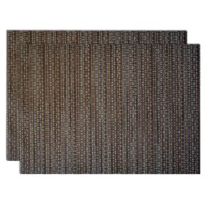 Sweet Pea Linens - Dark Brown & Blue Wipe Clean Rectangle Placemats - Set of Two (SKU#: RS2-1002-F31) - Product Image