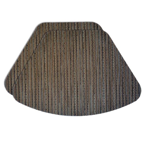 Sweet Pea Linens - Dark Brown & Blue Wipe Clean Wedge-Shaped Placemats - Set of Two (SKU#: RS2-1006-F31) - Product Image