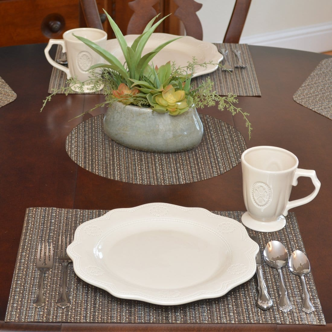 Dark Brown & Blue Wipe-Clean Table Linen Collection