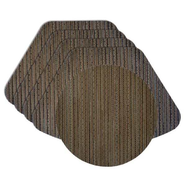 Sweet Pea Linens - Dark Brown & Blue Wipe Clean Wedge-Shaped Placemats - Set of Four plus Center Round-Charger (SKU#: RS5-1006-F31) - Product Image