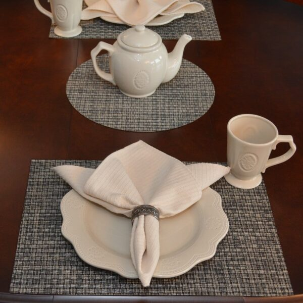 Sweet Pea Linens - Black, Gray & Tan Wipe Clean Rectangle Placemats - Set of Two (SKU#: RS2-1002-F32) - Table Setting