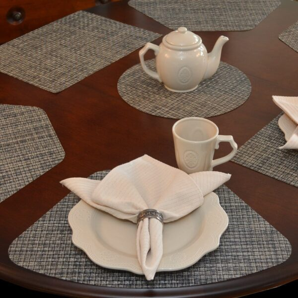 Sweet Pea Linens - Black, Gray & Tan Wipe Clean Wedge-Shaped Placemats - Set of Two (SKU#: RS2-1006-F32) - Table Setting