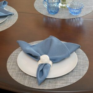 Sweet Pea Linens - Putty & Blue Wipe Clean Charger-Center Round Placemat (SKU#: R-1015-F33) - Table Setting