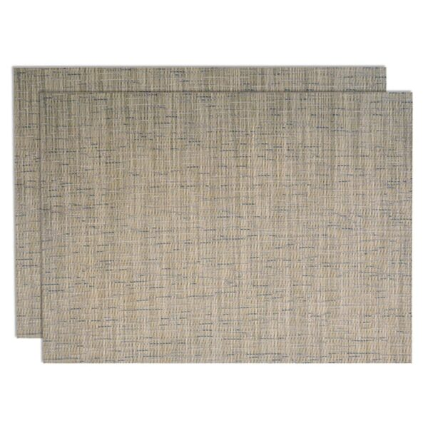 Sweet Pea Linens - Putty Gray & Blue Wipe Clean Rectangle Placemats - Set of Two (SKU#: RS2-1002-F33) - Product Image