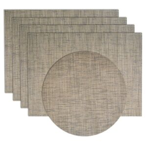 Sweet Pea Linens - Putty Gray & Blue Wipe Clean Rectangle Placemats - Set of Four plus Center Round-Charger (SKU#: RS5-1002-F33) - Product Image