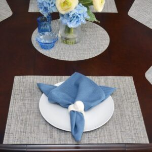 Sweet Pea Linens - Putty Gray & Blue Wipe Clean Rectangle Placemats - Set of Four plus Center Round-Charger (SKU#: RS5-1002-F33) - Table Setting
