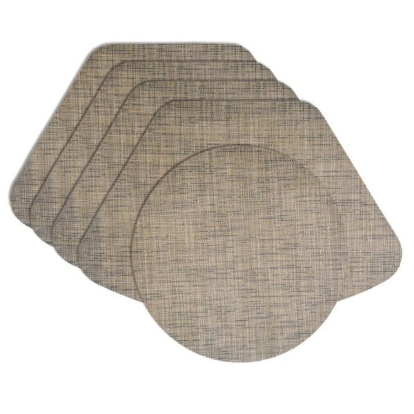 Sweet Pea Linens - Putty & Blue Wipe Clean Wedge-Shaped Placemats - Set of Four plus Center Round-Charger (SKU#: RS5-1006-F33) - Product Image