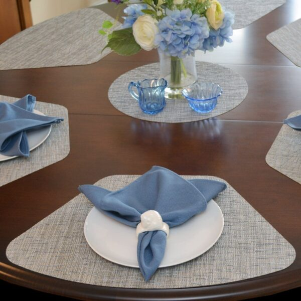 Sweet Pea Linens - Putty & Blue Wipe Clean Wedge-Shaped Placemats - Set of Four plus Center Round-Charger (SKU#: RS5-1006-F33) - Table Setting