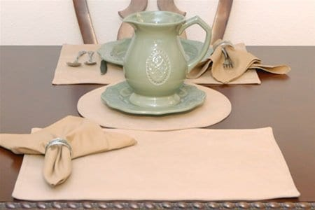 Sweet Pea Linens - Golden Yellow Tan Leather Look Rectangle Placemats - Set of Two (SKU#: RS2-1002-G2) - Table Setting