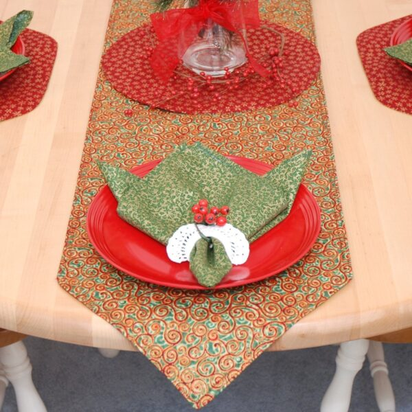 Sweet Pea Linens - Red & Green Swirl Holiday Print 54 inch Table Runner (SKU#: R-1020-H10) - Table Setting