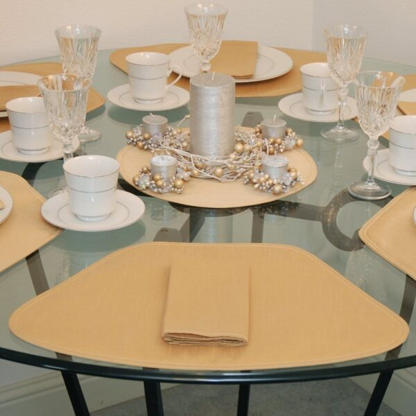 Sweet Pea Linens - Gold Shantung Wedge-Shaped Placemats - Set of Two (SKU#: RS2-1006-H14) - Table Setting