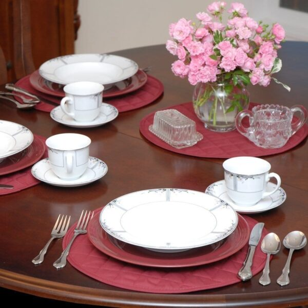 Sweet Pea Linens - Berry Quilted Charger-Center Round Placemat (SKU#: R-1015-H3) - Table Setting