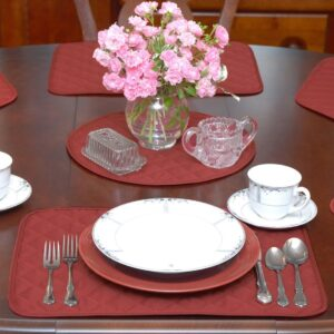Solid Berry Quilted Table Linen Collection